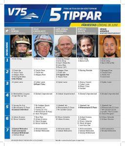 Fem tippar V75, Färjestad lördag 30 juni